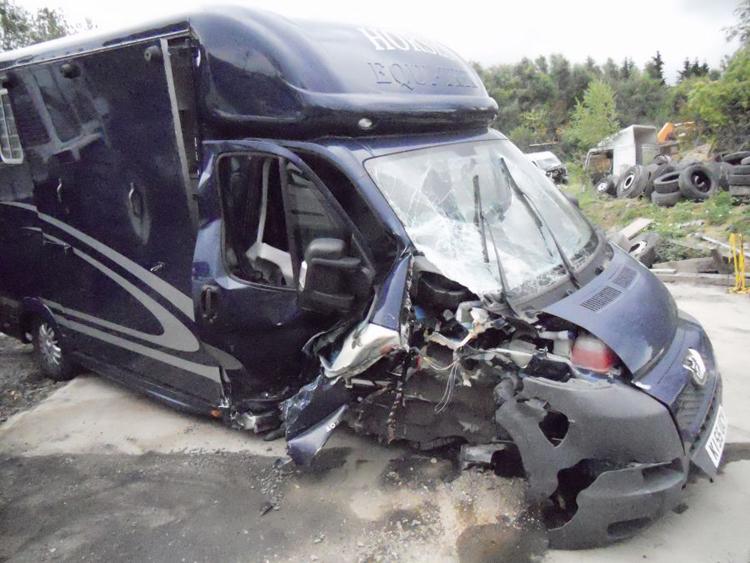 Damaged Horse Transporter